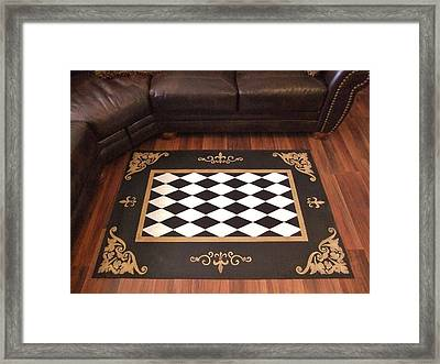 Harlequin With Gold Framed Print by Cindy Micklos