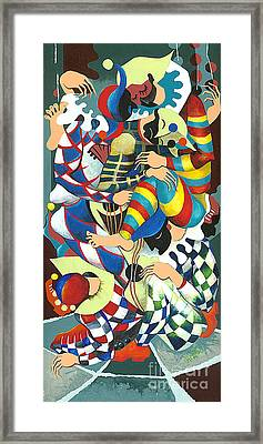 Harlequins Acting Weird - Why?... Framed Print by Elisabeta Hermann