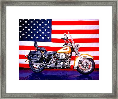 Harley And Us Flag Framed Print