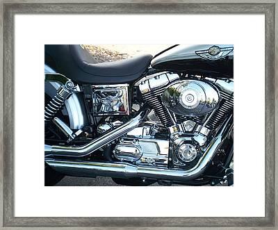 Harley Black And Silver Sideview Framed Print