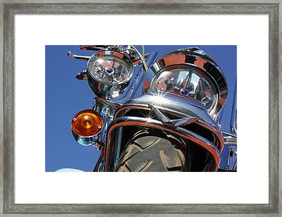 Framed Print featuring the photograph Harley Close Up by Shoal Hollingsworth