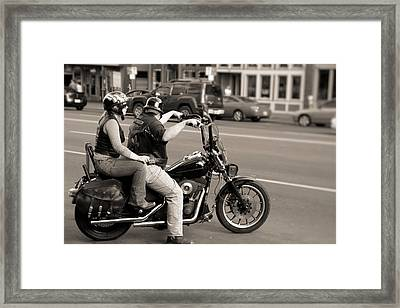 Harley Davidson Black And White Framed Print by Dan Sproul