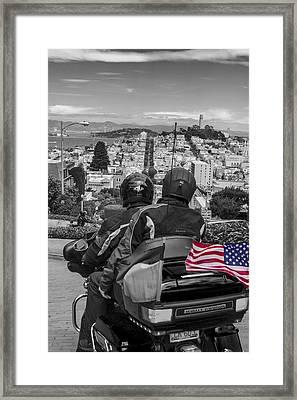Harley Davidson Driving Down Lombard  Street San Francisco  Framed Print by John McGraw