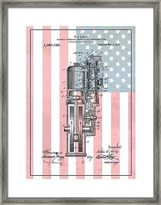 Harley Davidson Engine American Flag Framed Print by Dan Sproul