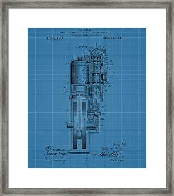 Harley Davidson Engine Blueprint Framed Print by Dan Sproul