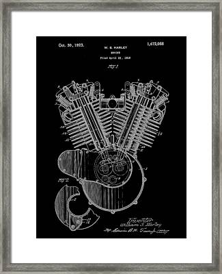 Harley Davidson Engine Patent 1919 - Black Framed Print by Stephen Younts