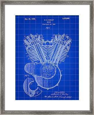 Harley Davidson Engine Patent 1919 - Blue Framed Print by Stephen Younts