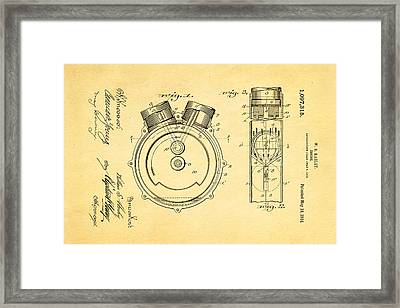 Harley Davidson Engine Patent Art 1914 Framed Print by Ian Monk