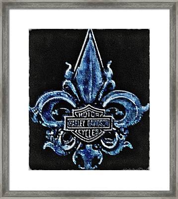 Harley Davidson Fleur De Lys Logo Framed Print