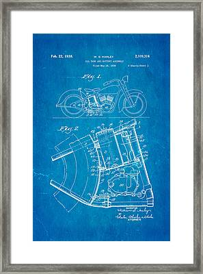Harley Davidson Horseshoe Oil Tank Patent Art 1938 Blueprint Framed Print by Ian Monk