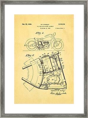 Harley Davidson Horseshoe Oil Tank Patent Art 1938 Framed Print by Ian Monk