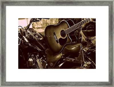 Framed Print featuring the photograph Harley Davidson Made Into 1960ish by Karen Kersey