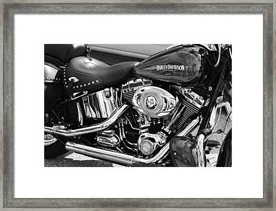 Harley Davidson Monochrome Framed Print by Laura Fasulo