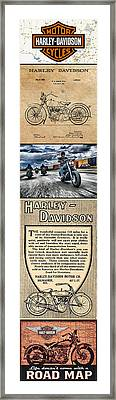 Harley-davidson Montage With Austin Map Framed Print by Photographic Art by Russel Ray Photos