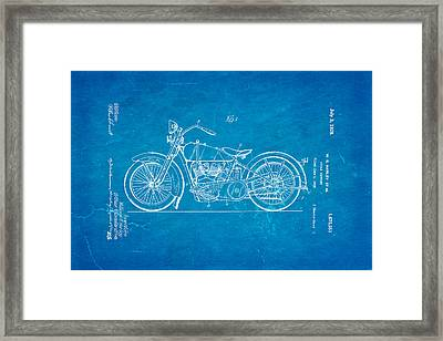 Harley Davidson Motor Cycle Support Patent Art 1928 Blueprint Framed Print by Ian Monk