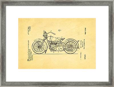 Harley Davidson Motor Cycle Support Patent Art 1928 Framed Print