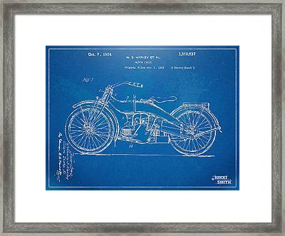 Harley-davidson Motorcycle 1924 Patent Artwork Framed Print by Nikki Marie Smith