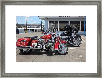 Harley-davidson Motorcycle On The Municipal Wharf At Santa Cruz Beach Boardwalk California 5d23817 Framed Print by Wingsdomain Art and Photography