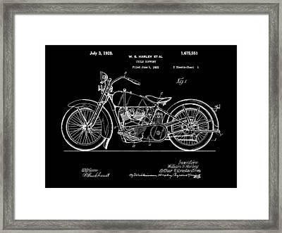 Harley Davidson Motorcycle Patent 1925 - Black Framed Print by Stephen Younts