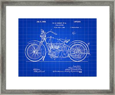Harley Davidson Motorcycle Patent 1925 - Blue Framed Print by Stephen Younts
