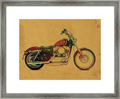 Harley Davidson Motorcycle Profile Portrait Watercolor Painting On Worn Parchment Framed Print