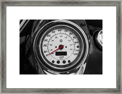 Harley Davidson Motorcycle Speedometer Harley Bike Bw  Framed Print