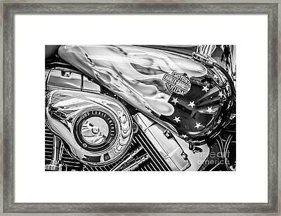 Harley Davidson Motorcycle Stars And Stripes Fuel Tank - Black And White Framed Print by Ian Monk