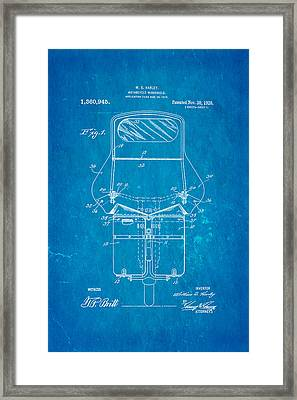 Harley Davidson Motorcycle Windshield Patent Art 1920 Blueprint Framed Print by Ian Monk
