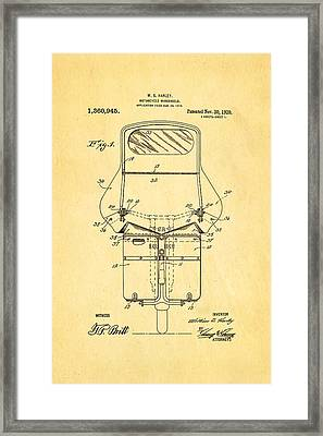 Harley Davidson Motorcycle Windshield Patent Art 1920 Framed Print by Ian Monk