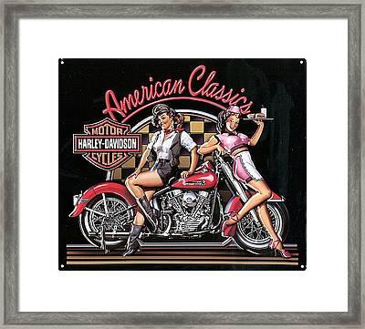 Harley Davidson Old School Ad Framed Print