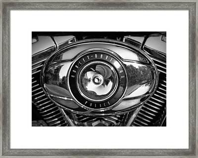 Harley-davidson Police B And W Framed Print by Cricket Hackmann