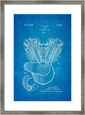 Harley Davidson V Twin Engine Patent Art 1923 Blueprint Framed Print by Ian Monk