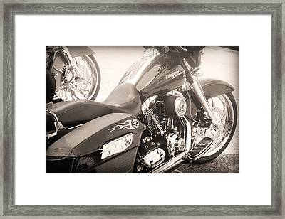 Harley Davidson With Flaming Skulls Framed Print