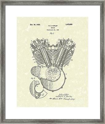 Harley Engine 1923 Patent Art Framed Print