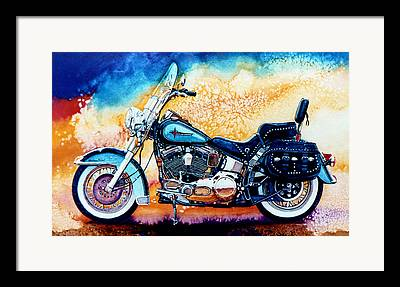 Motorcycle Paintings Framed Prints