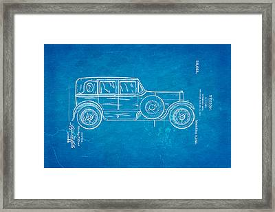 Harley J Earl Autombile Car Design Patent Art 1921 Blueprint Framed Print by Ian Monk