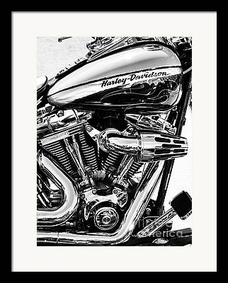 Black And White Motorcycle Framed Prints