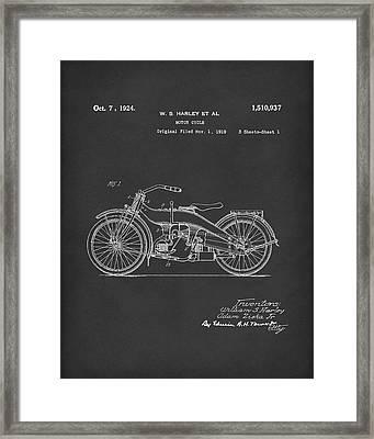 Harley Motorcycle 1924 Patent Art Black Framed Print