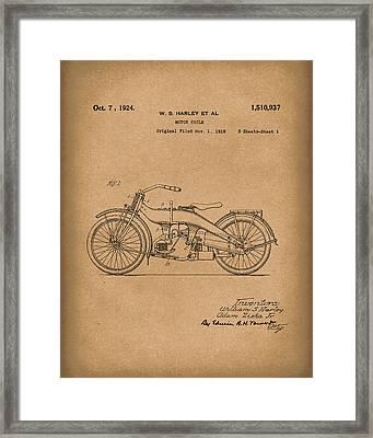 Harley Motorcycle 1924 Patent Art Brown Framed Print