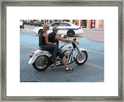 Framed Print featuring the digital art Harley On Main Street by Brian Johnson