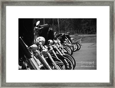 Framed Print featuring the photograph Harleys All In A Row by Jim Lepard