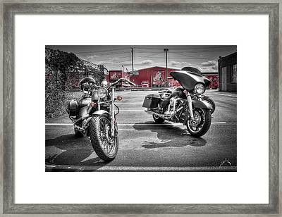 Harleys And Coke Framed Print