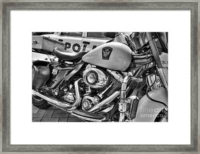 Harleys In Cincinnati 2 Bw Framed Print