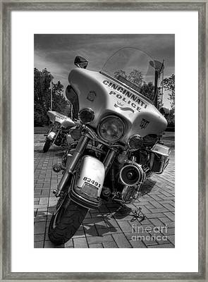 Harleys In Cincinnati Bw Framed Print