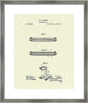 Harmonica 1876 Patent Art Framed Print