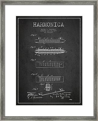 Harmonica Patent Drawing From 1897 - Dark Framed Print