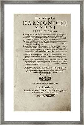 'harmonices Mundi' (1619) Framed Print by Library Of Congress