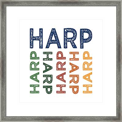 Harp Cute Colorful Framed Print by Flo Karp