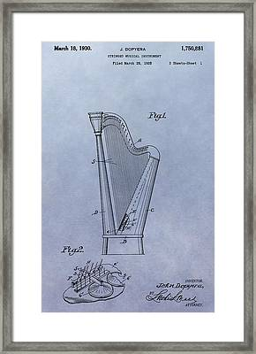 Harp Patent Framed Print by Dan Sproul