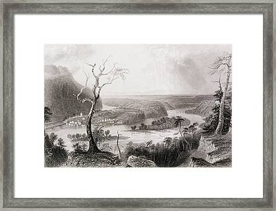Harpers Ferry, West Virginia, From The History Of The United States, Vol. II, By Charles Mackay Framed Print by William Henry Bartlett